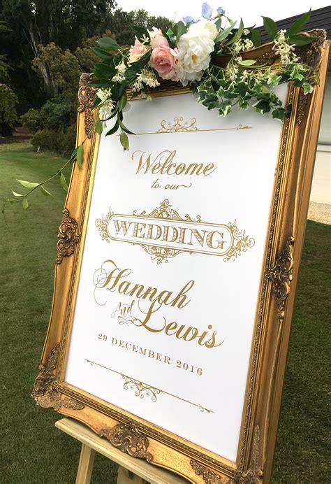 elegant gold wedding  sign  custom designed
