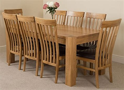 kuba chunky 180cm kitchen solid oak dining table with 8