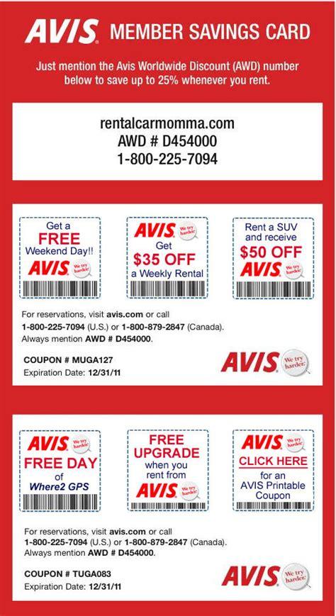 auto discount avis avis car rental coupon