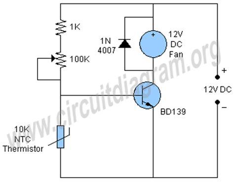 Simple Temperature Controlled Fan Circuit Diagram