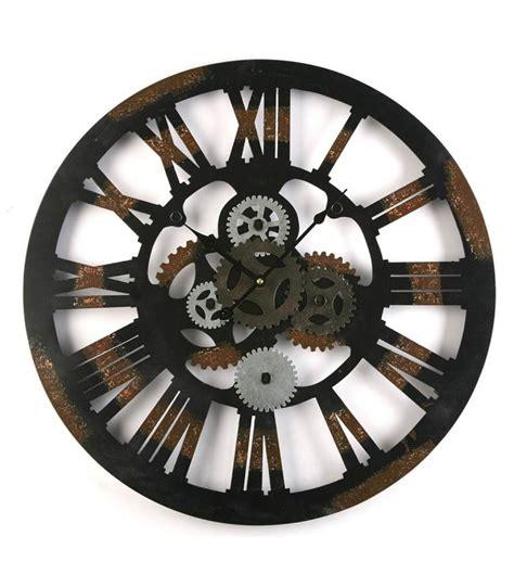 pendule de bureau horloge murale ronde style industriel en métal noir