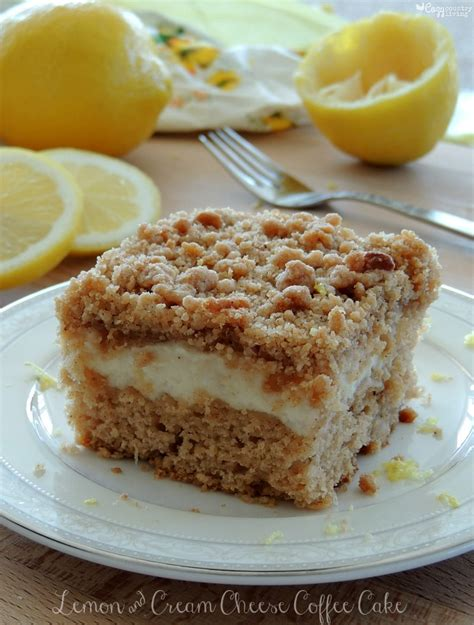 And with all these gray clouds during the winter months, starting the day with this little ray of sunshine really so if you are feeling the winter blues lately, whip up a pan of this mood enhancing lemon cream cheese coffee cake and feel happy!! Lemon & Cream Cheese Coffee Cake