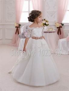 2016 new hot white ivory lace flower girls dresses with With flower girl wedding dresses