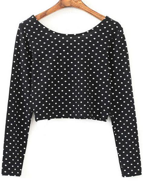 dotted sleeve t shirt black polka dot sleeve crop t shirt shein sheinside