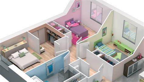 plan de chambre 3d plan maison 3d maison plain pied lila maisons clair logis