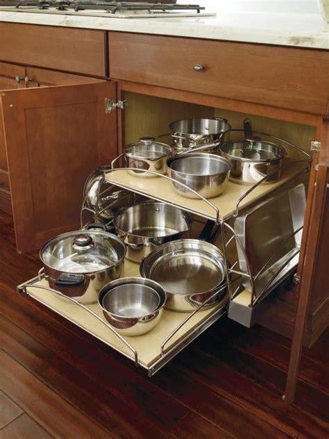 storage cabinet kitchen thomasville sliding lid bottom shelf pots pans pan organizer base cabinets organization cabinetry cupboards visit bath depot