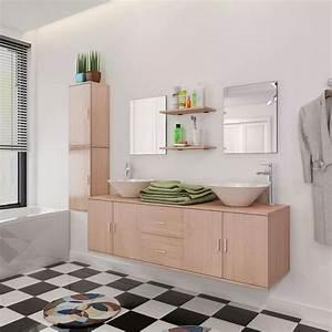Badmöbel Mit Waschbecken : vidaxl 11 tlg badm bel set mit waschbecken und wasserhahn beige g nstig kaufen ~ Eleganceandgraceweddings.com Haus und Dekorationen