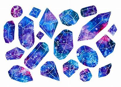 Watercolor Crystals Gems Galaxy Illustration Crystal Quartz