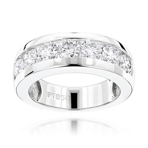 mens wedding rings platinum with diamonds 7 bands platinum wedding ring for 1 5ct