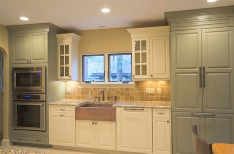 aged sage green with mocha glaze and eggshell kitchen