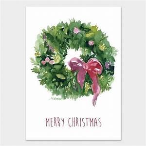 Watercolor Christmas Wreath Christmas Cards Set – Susan