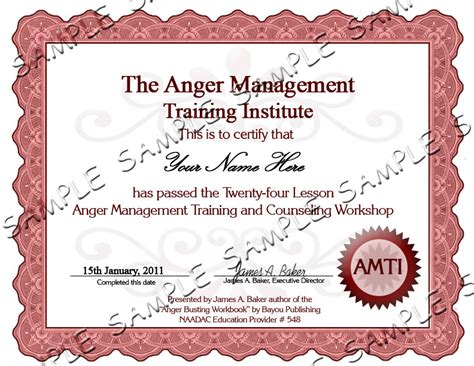 Anger Management Certificate Template by Anger Management Certificate Template The Best And