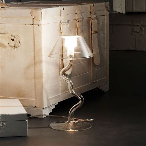 lampe  poser eolo en verre pyrex avec pied en zig zag