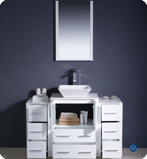 designer bathroom vanities cabinets fresca torino 48 quot white modern bathroom vanity vessel sink
