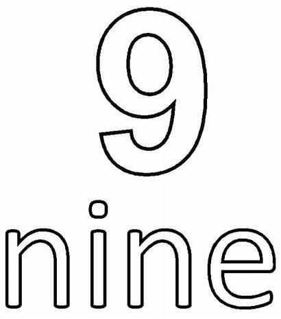 Number Coloring Nine Pages Printable Ten Getcolorings
