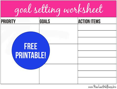 free printable goal setting worksheet and