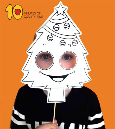 christmas tree printable mask  minutes  quality time
