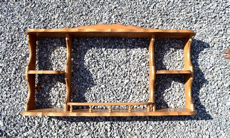 reserved vintage wood curio shelf plate rack sheryns maple  california miniature display wall