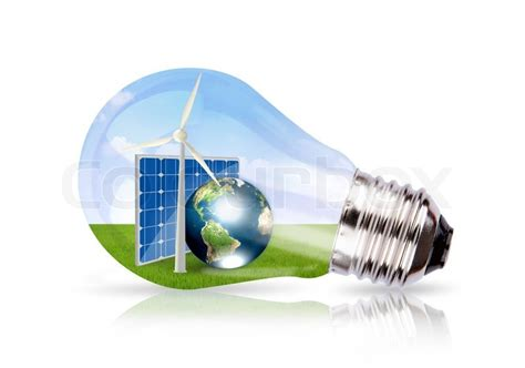 light bulb with wind turbine solar cell and earth inside