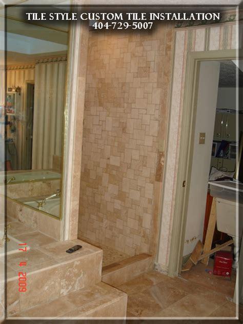 bathroom remodeling in alpharetta ga shower travertine