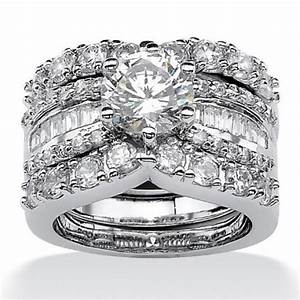 Palmbeach jewelry platinum over sterling silver for Sterling silver cubic zirconia wedding rings