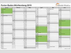 Ferien BadenWürttemberg 2019 Ferienkalender zum Ausdrucken