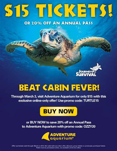 15 discount tickets to adventure aquarium through march 3 2013