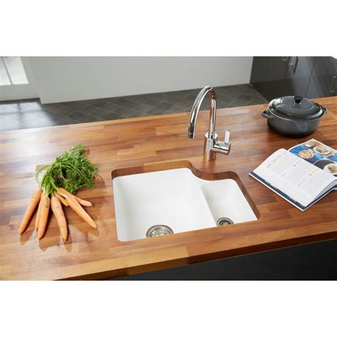 ceramic undermount kitchen sinks 1 5 ceramic premium 1 5b rhd sink gloss white undermount 8119