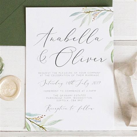 botanical wedding invitation and rsvp by eliza may prints