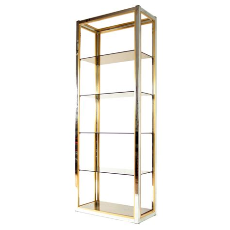 Brass And Glass Etagere by 1970s Italian Chrome Brass And Glass Etagere