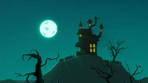 A Spooky Background Of A Haunted House With A Full Moon In