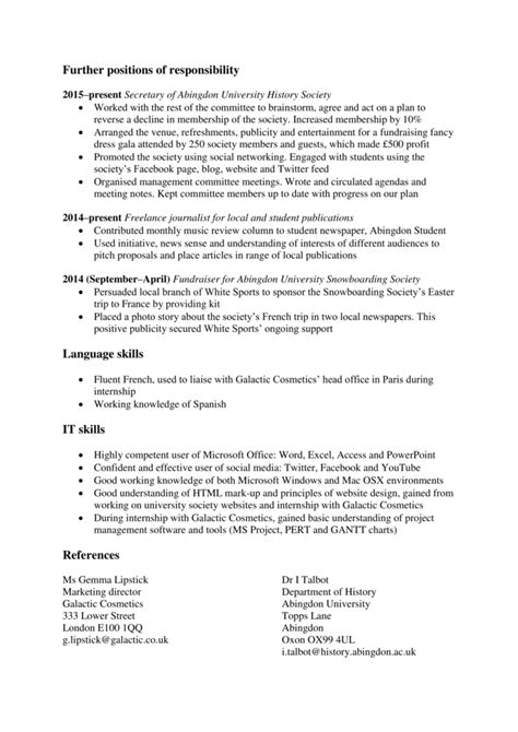 Graduate Cv Template by Graduate Cv Template Ireland The Ultimate Guide To Cv