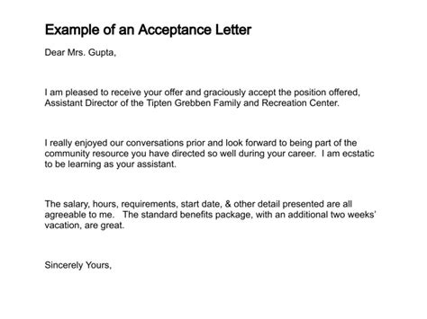 acceptance letter template how to write a letter of acceptance