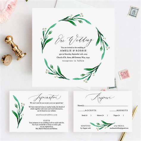 Greenery Wedding Invitation Printable Templates Printable