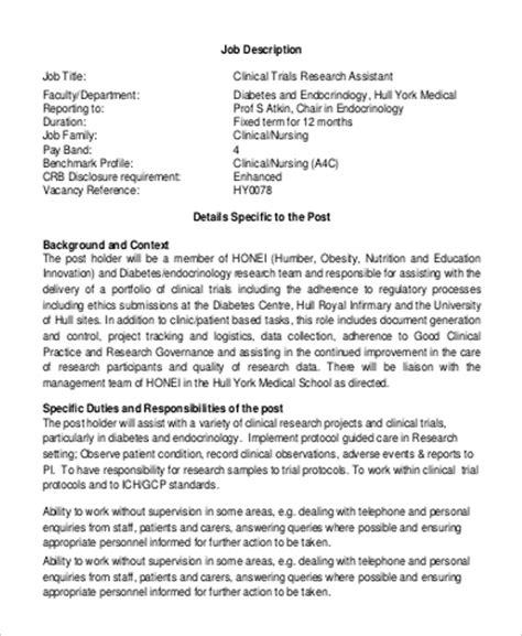 resume research assistant description sle research assistant description 10 exles in pdf word