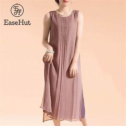 Linen Loose Summer Sleeveless Cotton Side Sundress