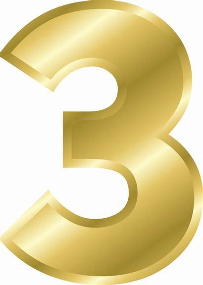 Number Gold Clipart Letters Alphabet Transparent Three