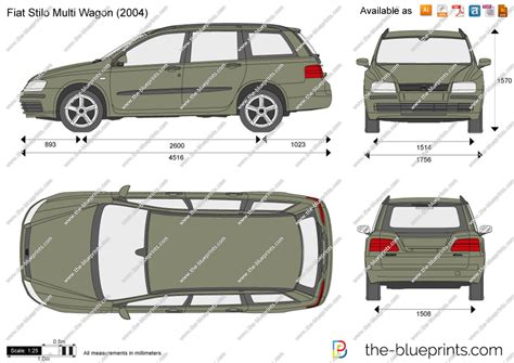 fiat stilo multi wagon vector drawing