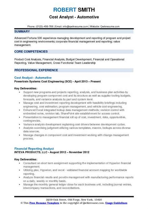 Resume Lookup by Cost Analyst Resume Sles Qwikresume