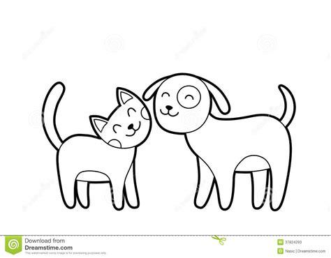 cartoon cat  dog sketch stock  image