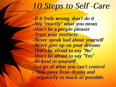 Daily Quotes Quote About 10 Steps To Self Care
