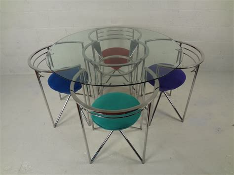 chrome table and chairs 70s retro glass chrome dining table and chairs image 2