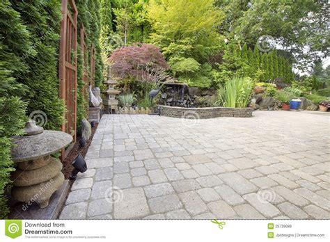 Garden With Patio by Backyard Asian Inspired Paver Patio Garden Royalty Free