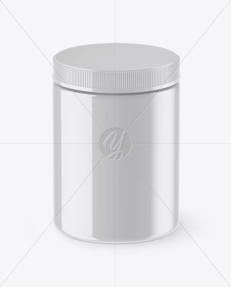 Protein jar, used in the pharmaceutical industry as the package for tablets, pills, or capsules. Glossy Plastic Protein Jar Mockup (High-Angle Shot) in Jar ...