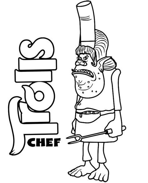chef coloring page trolls  print