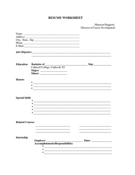 Printable Free Resume by Free Printable Fill In The Blank Resume Templates Resume