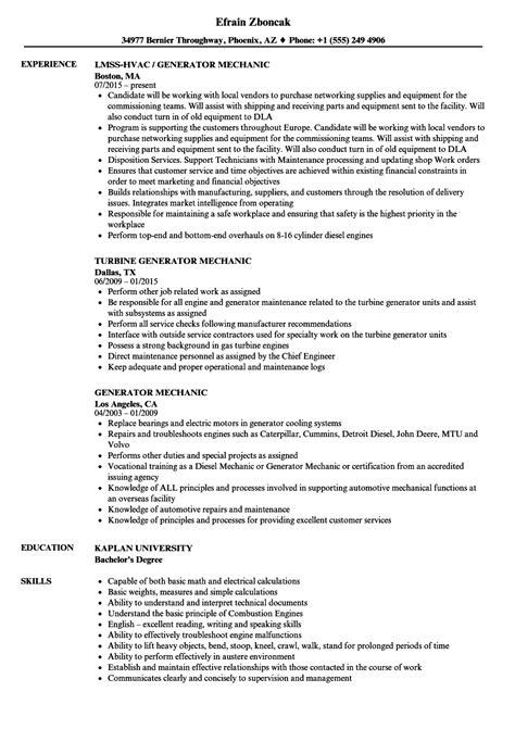 Resume Generater by Generator Mechanic Resume Sles Velvet
