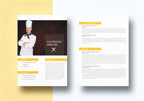 chef resume templates  psd   premium