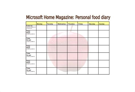 food diaries templates 30 food log templates doc pdf excel free premium templates