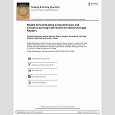 (pdf) Improving Reading Comprehension And Social Studies Knowledge Among Middle School Students